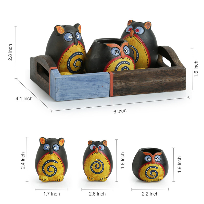 Moorni Small Triple Owl Shaped Terracotta Salt & Pepper Shaker Set With Toothpick Holder & Tray
