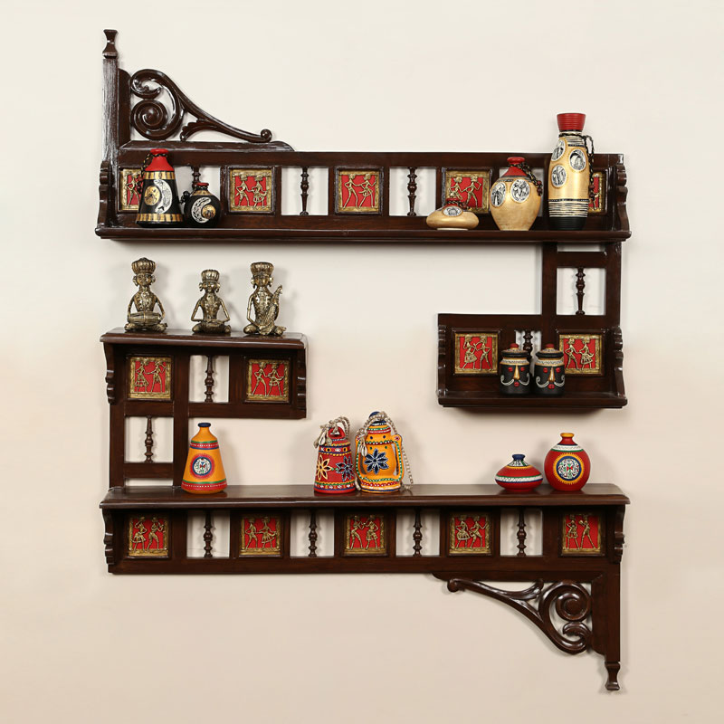 Teak Wood Maharaja Wall Shelves With Dhokra Work In Walnut Brown
