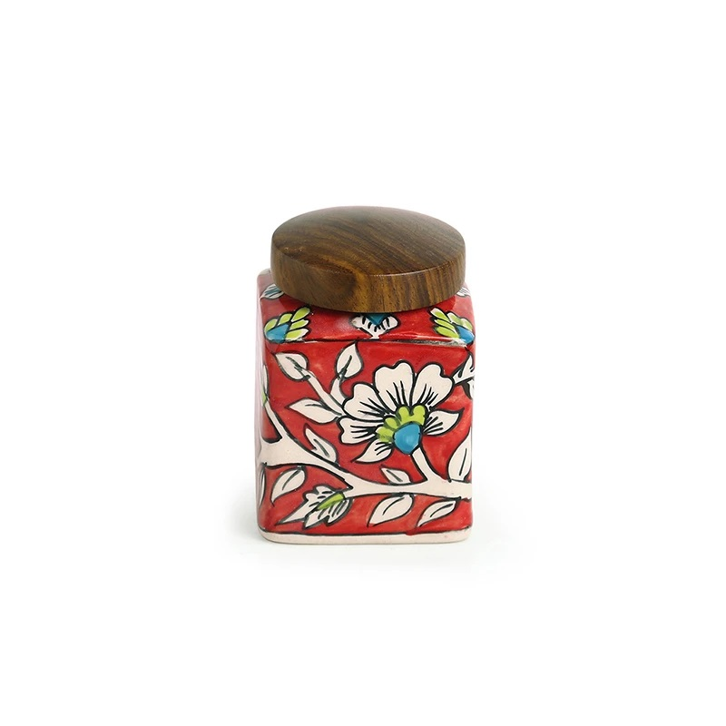 Moorni Mughal Cuboidal Floral Hand-painted Multi Utility Storage Jar & Container In Ceramic (Airtight, 240 ML, 3.8 Inch)
