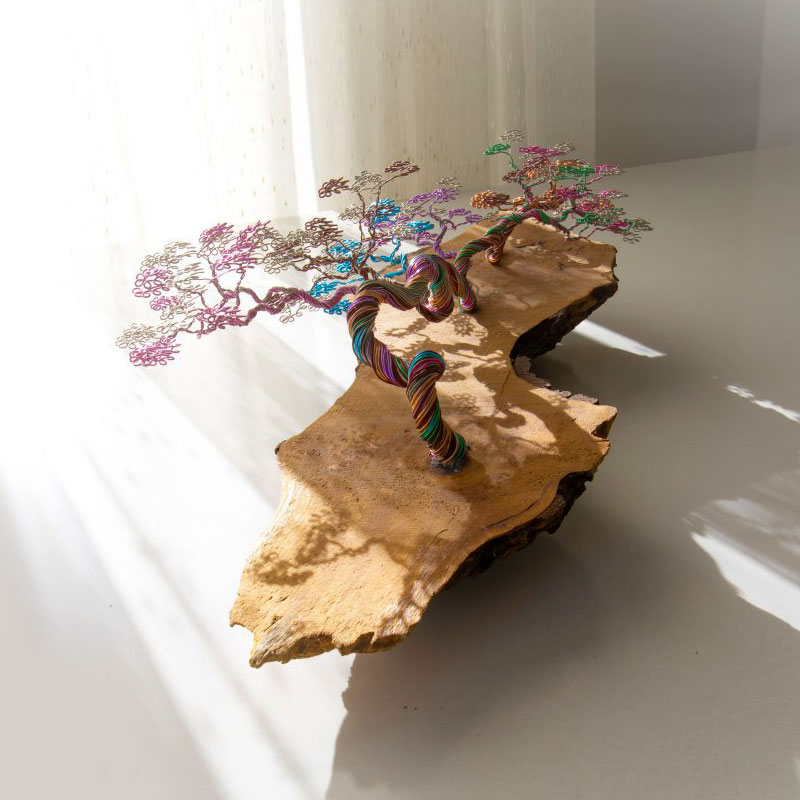 Handmade Colorful Lie Down Natural Wood Bonsai Aluminum Wires Tree