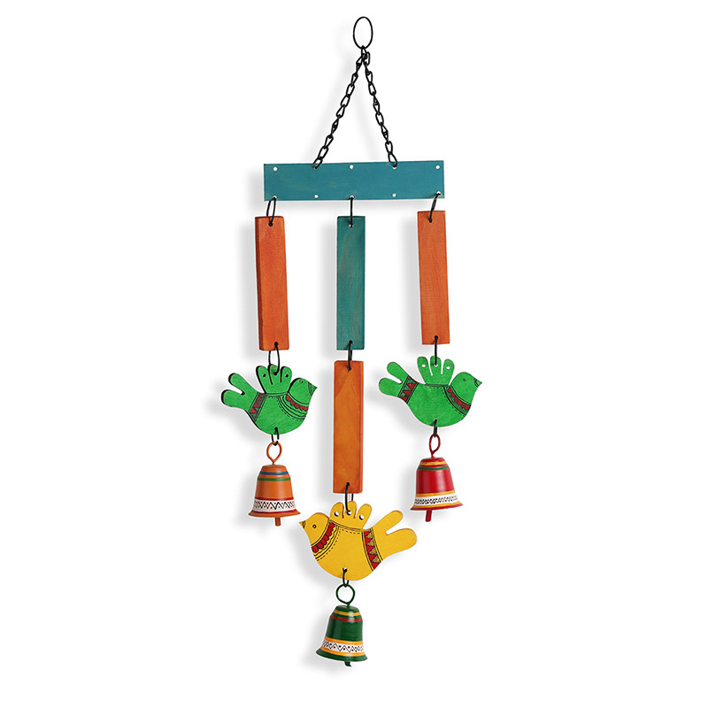 Moorni Chirping Birds & Bells Decorative Hanging Wind Chime Handmade In Wood & Metal EL-015-064