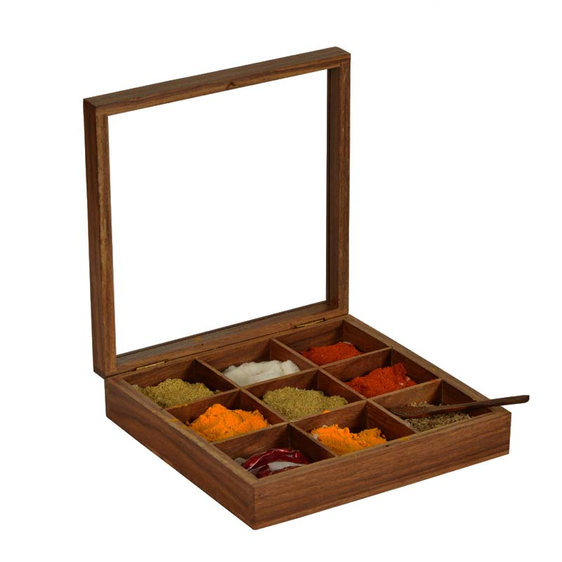 Moorni Spice Box In Sheesham Wood with Spoon