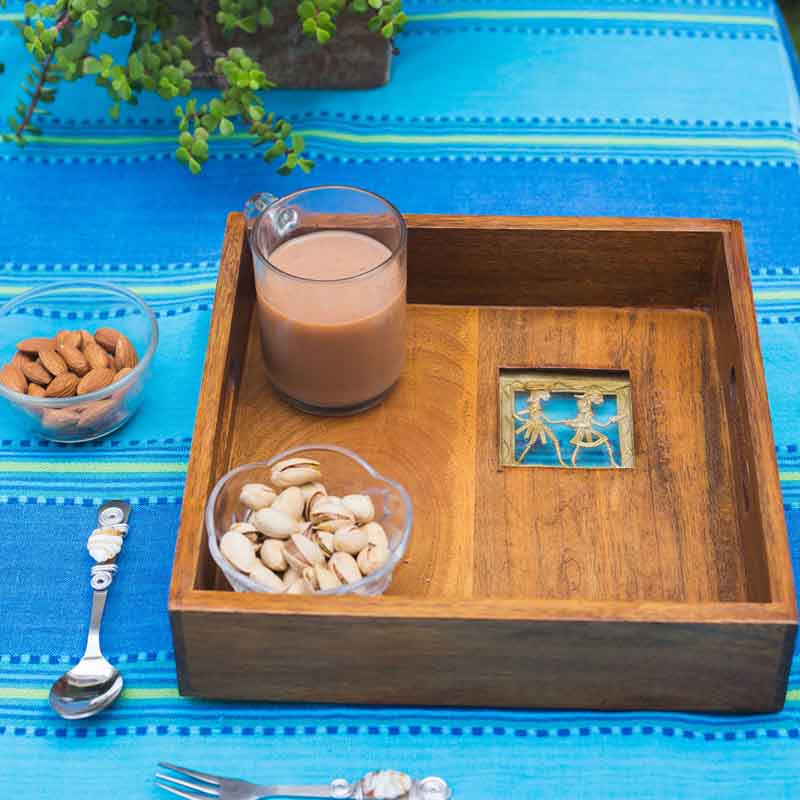 Olha-o Tribe Serving Tray Big with handle slots
