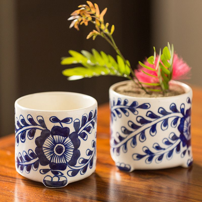 Moorni The Blooming Buddies Mughal Hand-Painted Ink Blue Ceramic Planters (Set Of 2)