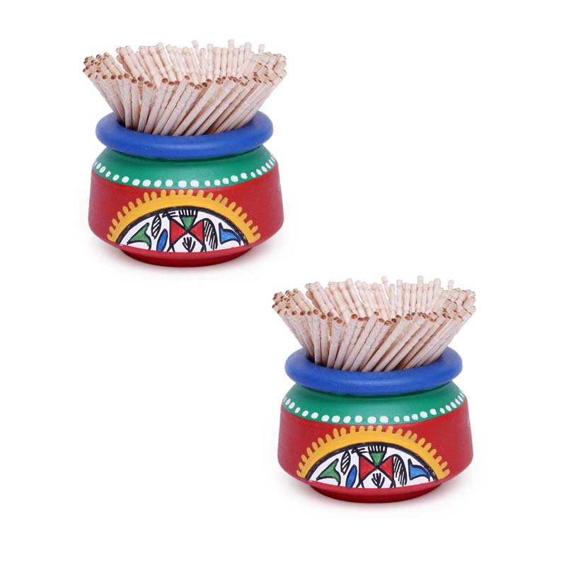 Moorni Terracotta Handpainted Warli Toothpick Holder Set Red