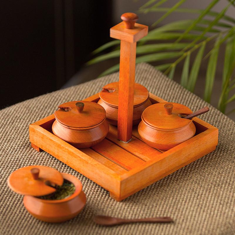 Moorni Handcrafted Jar Set With Tray & Spoons In Steam Beech Wood (Orange)