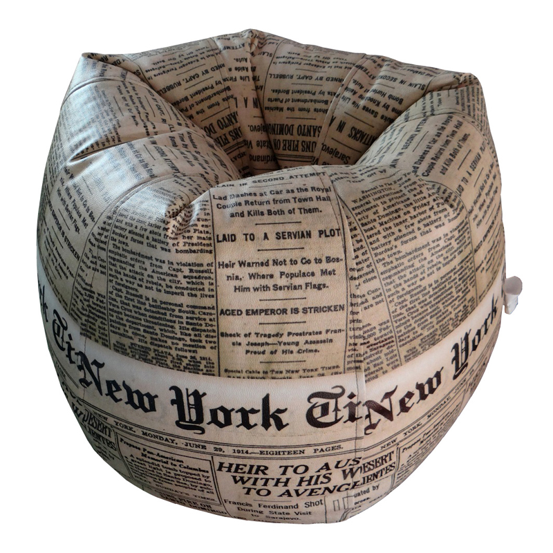ORKA Bean Bag Filled with Beans - Newspaper Design