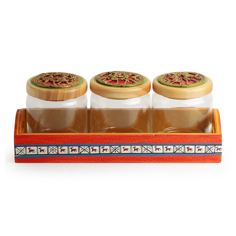 Moorni Threes A Tribe Dhokra Snacks Jar Set In Glass With Warli Hand-Painted Wooden Tray