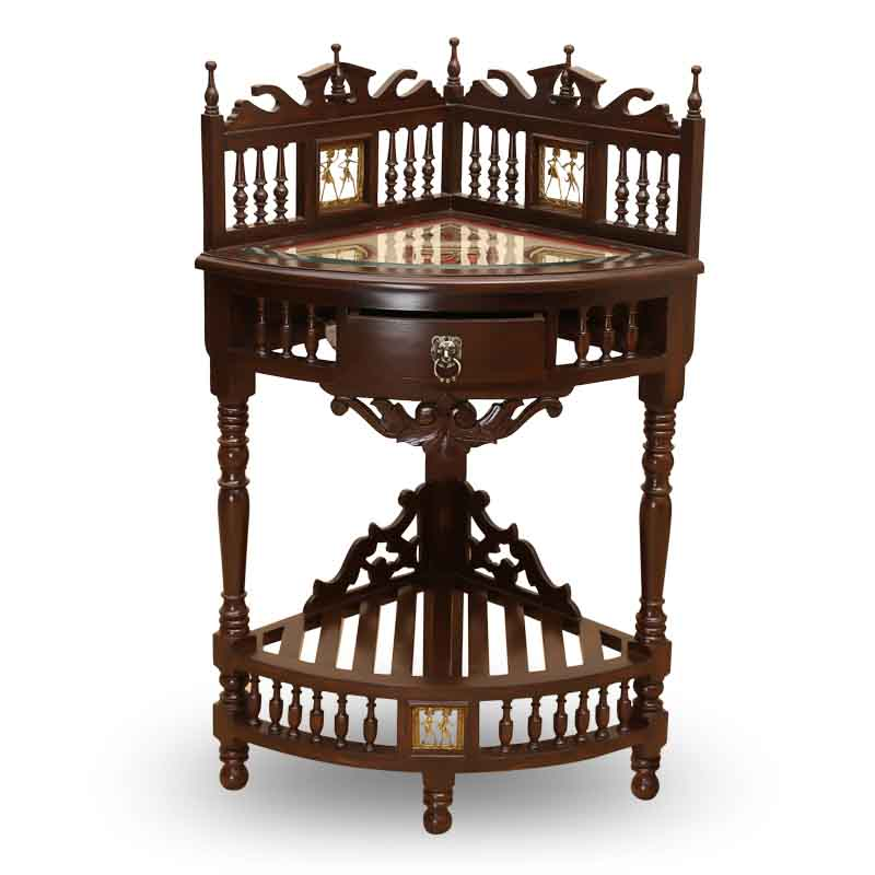 Moorni Teak Wood Corner Table with Dhokra and Warli Work - EL-020-084