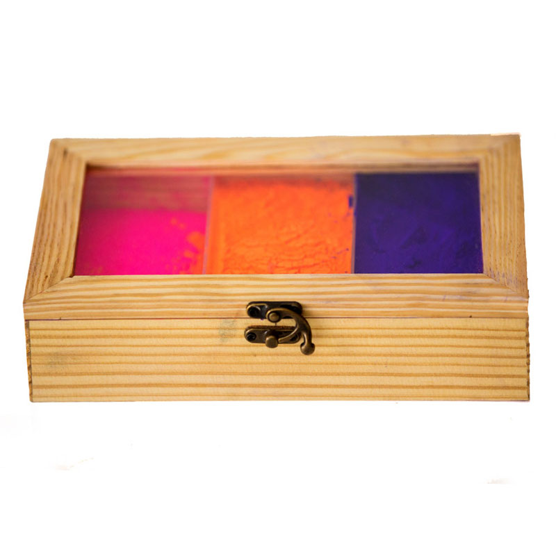 Olha-o Tribe Pine Wooden Box with Partition