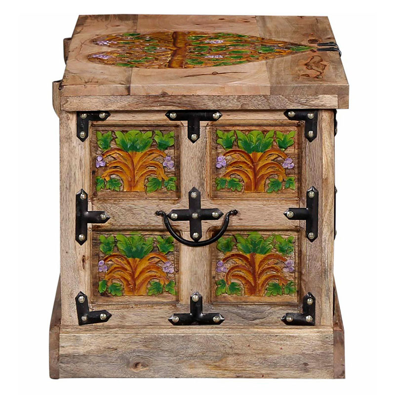 Navi Art Wood Painted Covered Box in Honey Oak Finish - SBA061