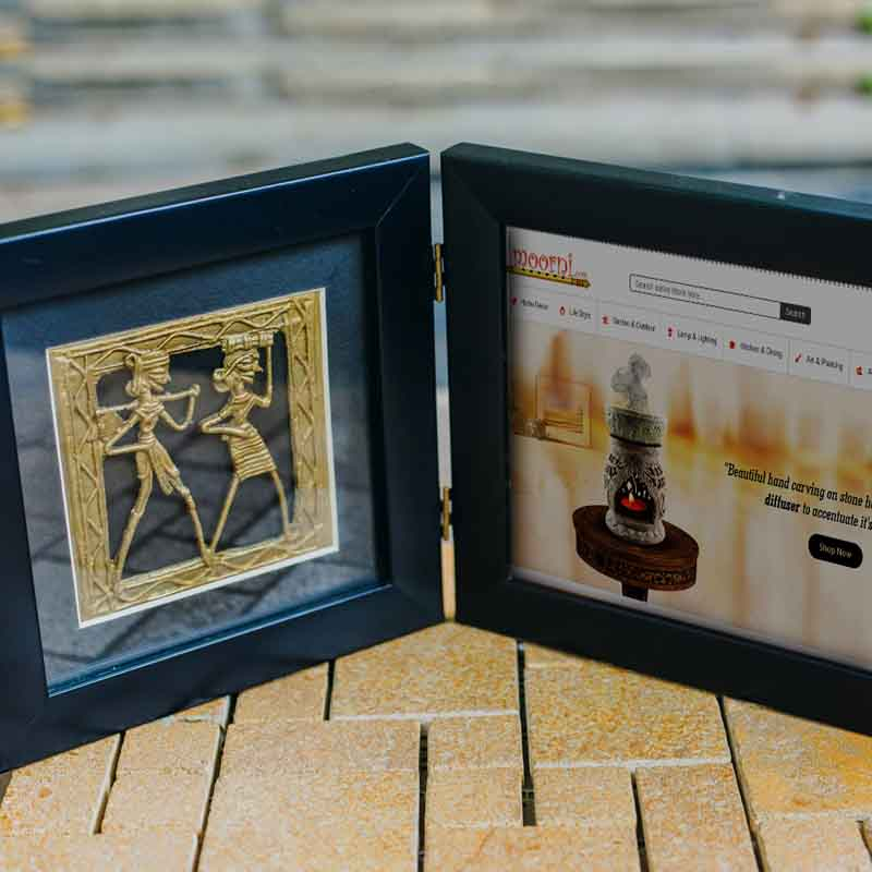 Olha-o Tribe Dhokra Art Photo Frame 39cm x 17cm