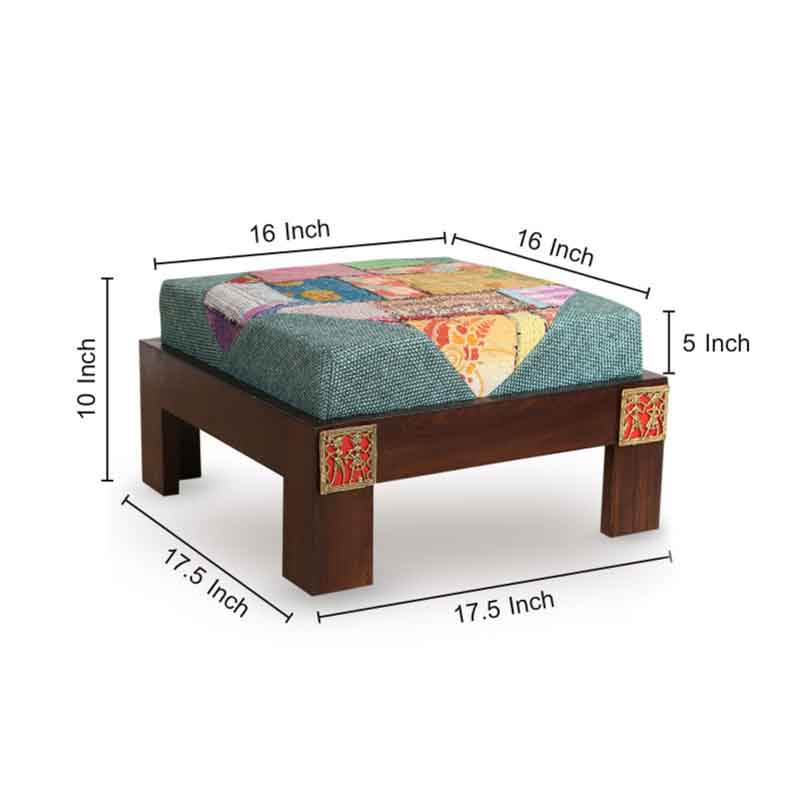 Moorni Teak Wood Low Rise Patch Work Stool with Dhokra Work