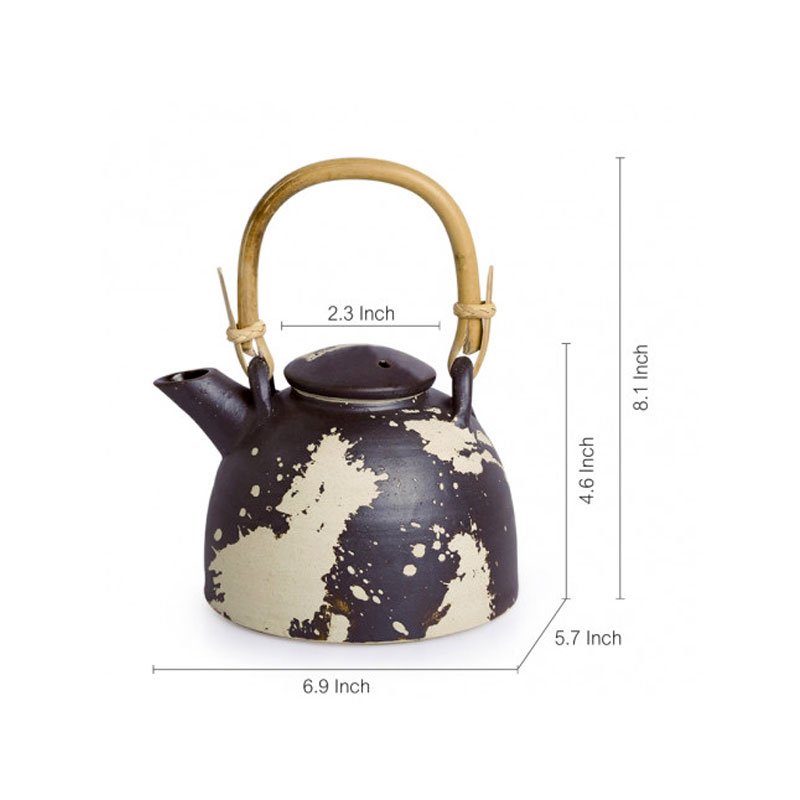 Moorni Tea Splatters Ceramic Kettle With Cane Handle (Studio Pottery) - EL-005-287