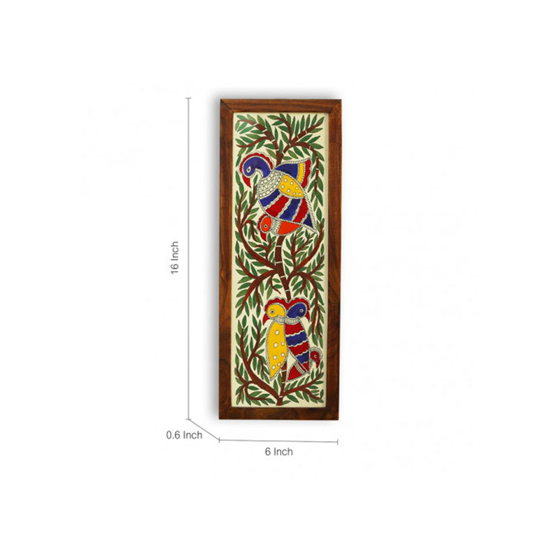 Moorni The Tree House Mithila Hand-Painted Wall Painting In Teak Wood - EL-002-082
