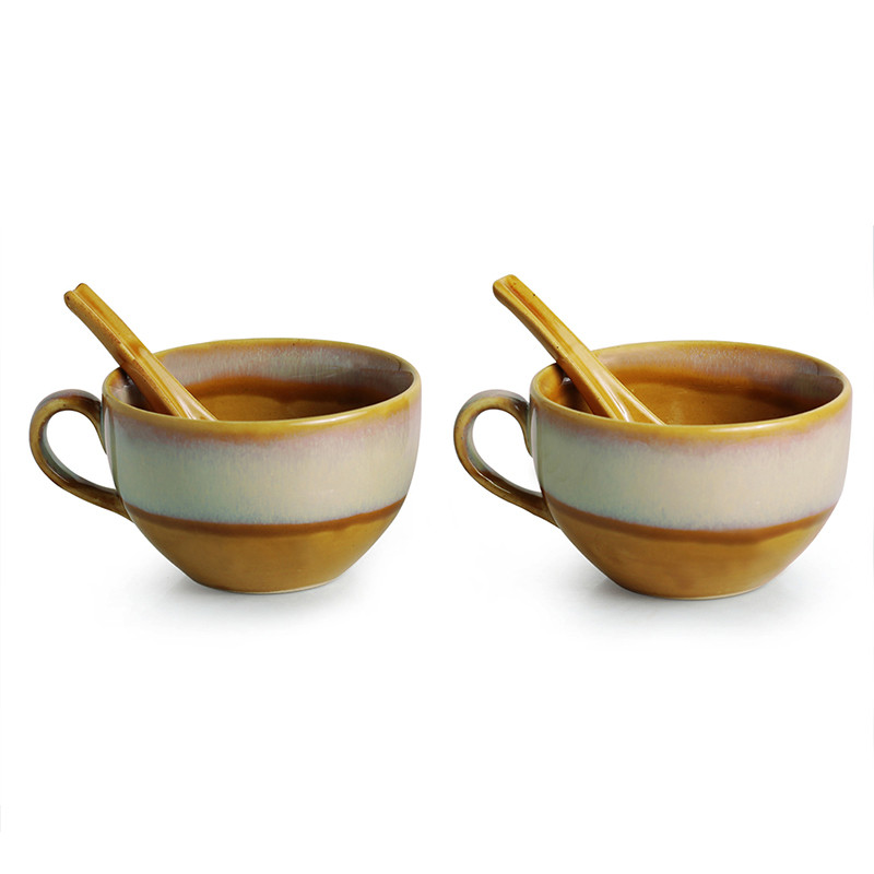 Moorni The Eclipsed Two Soup Bowls With Spoons Dual Glazed Studio Pottery In Ceramic (Set Of 2)