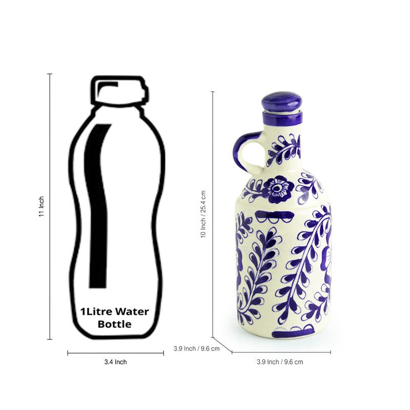 Moorni The Flowy Flora Mughal Hand-Painted Ink Blue Decorative Ceramic Oil Bottle (1000 ML)