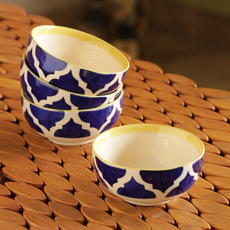 Moorni Four Mediterranean Bowls Handpainted Serving Bowls In Ceramic (Set Of 4)