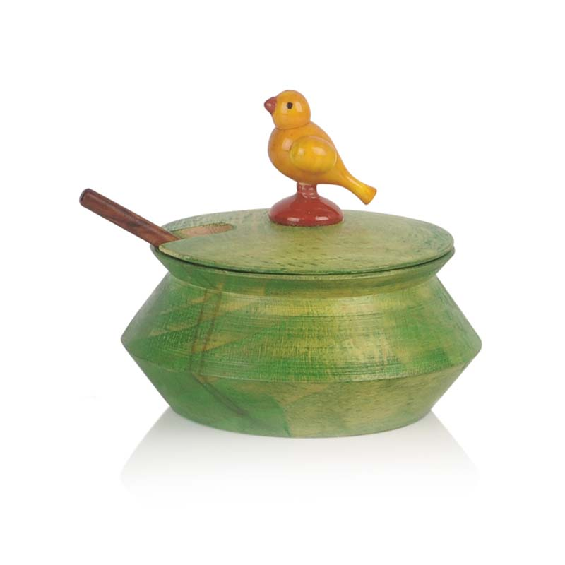 Moorni Parrot Jar Set with Tray and Spoon in Wood Green