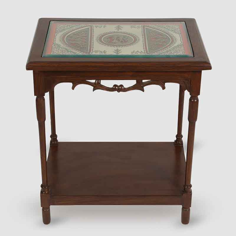 Moorni Teak Wood Side Table with Warli and Dhokra Work
