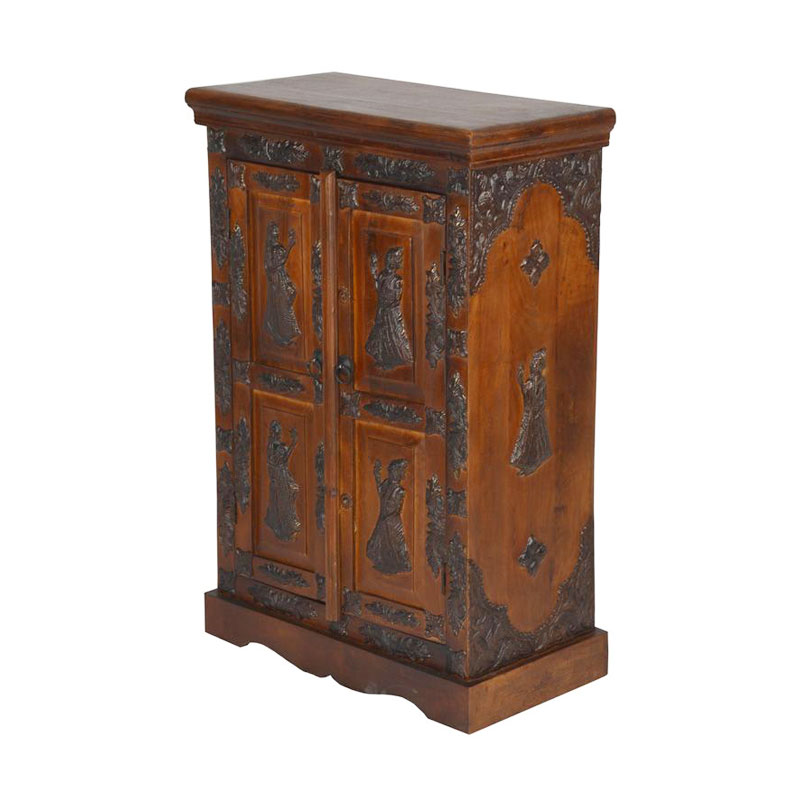 Glow Homes Decorative Wood Cabinet With Brass Finish