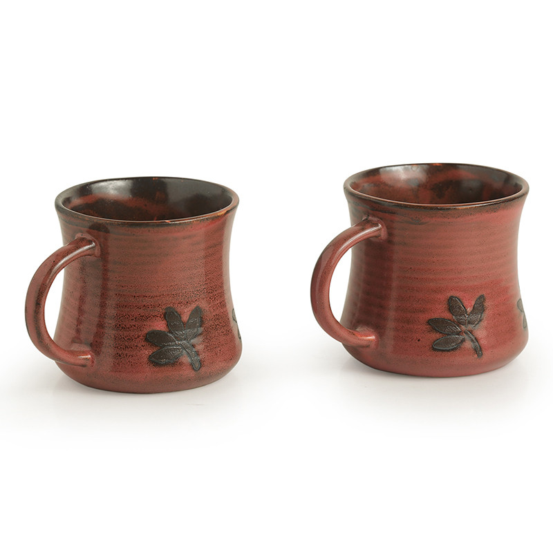 Moorni Leaves Imprinted Studio Pottery Tea & Coffee Mugs In Ceramic (Set Of 2)