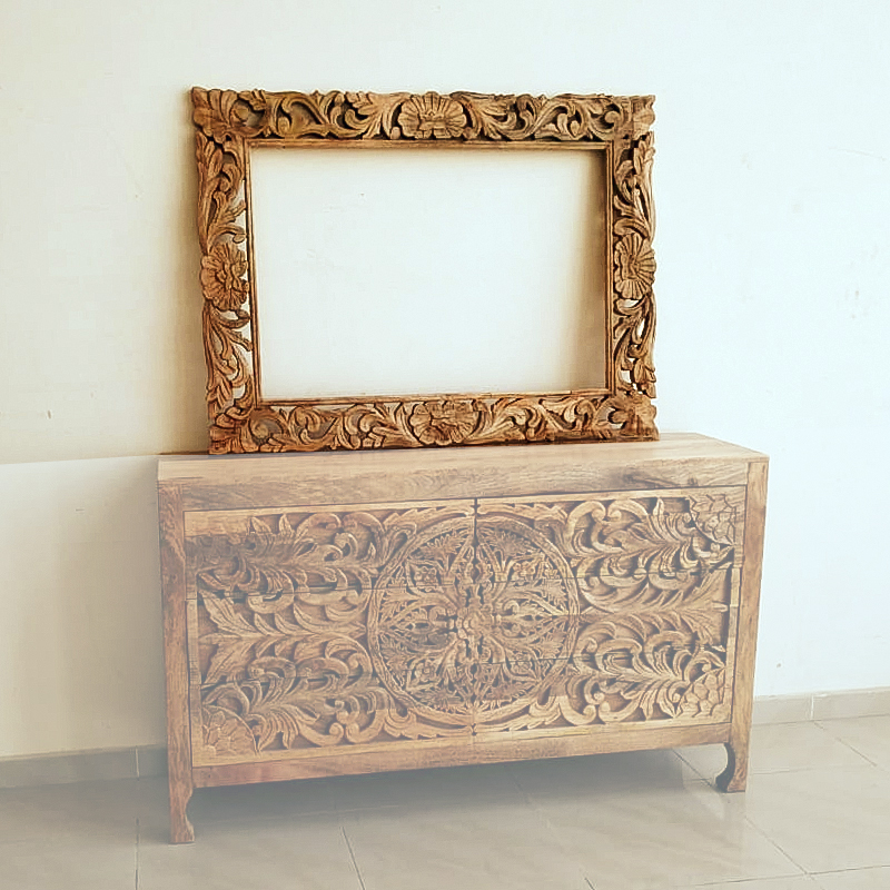 Moorni Wooden Carved Design Mirror Frame