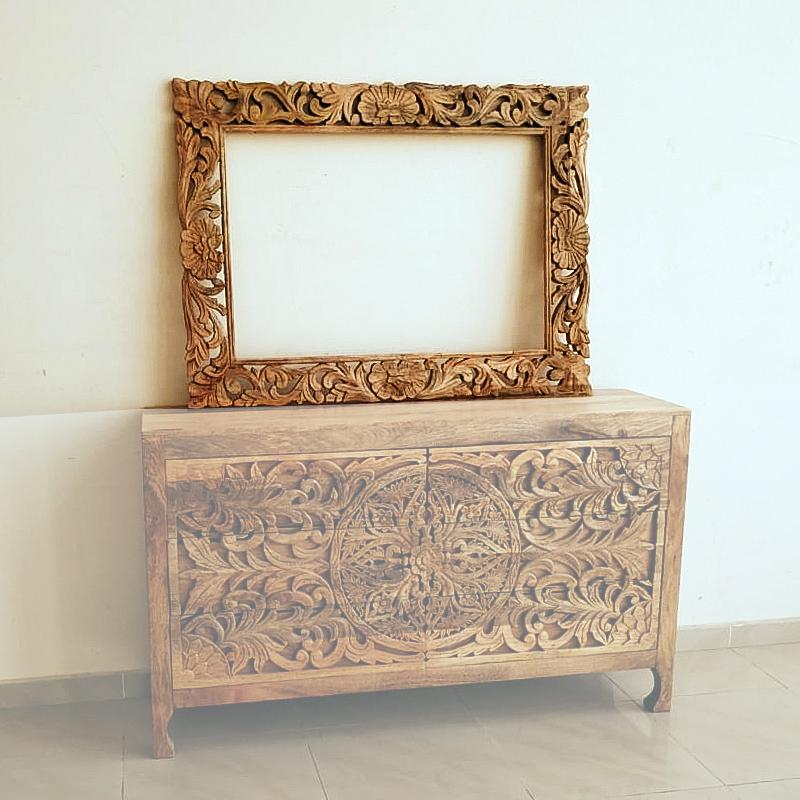 Moorni Wooden Carved Design Mirror Frame