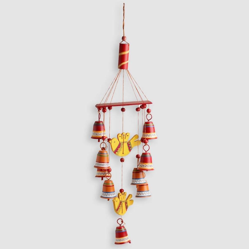 Moorni Natures Music Hand-Painted Decorative Hanging Bells Wind Chime In Metal & Wood