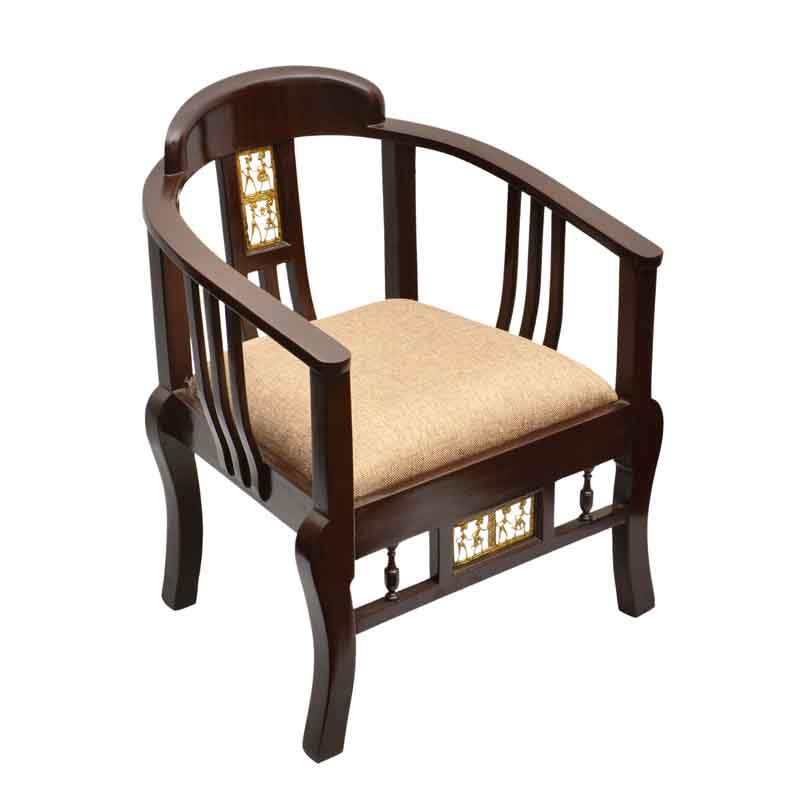 Moorni Teak Wood Maharaja Chair with Dhokra Work