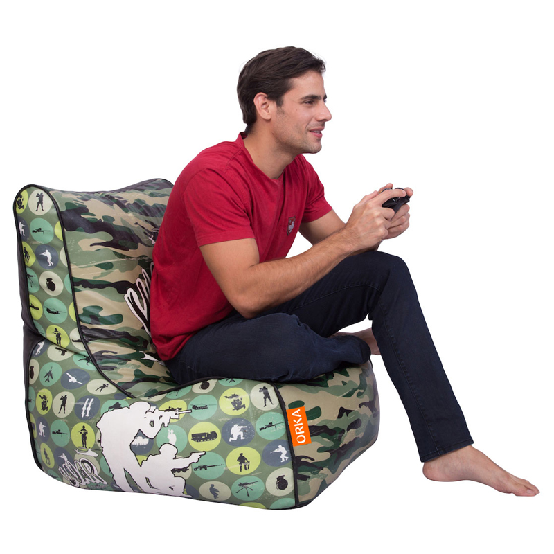 ORKA Digital Printed Bean Chair Filled with Beans - Camouflage