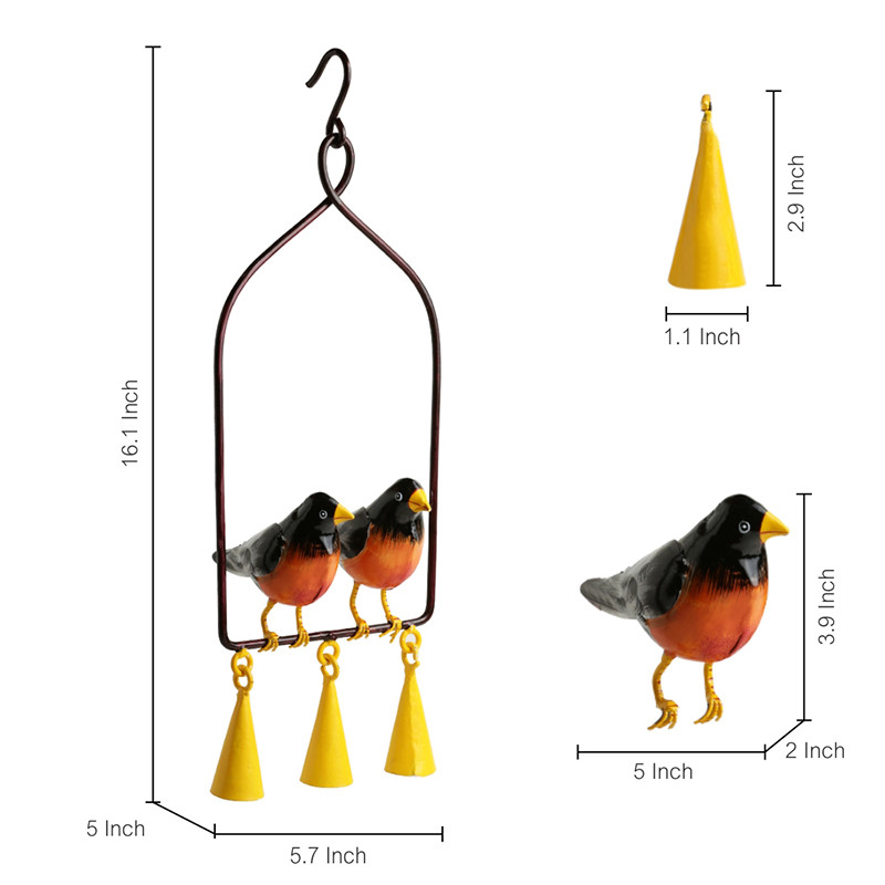 Moorni Swaying With Robins Hand-Painted Decorative Hanging Wind Chime In Metal