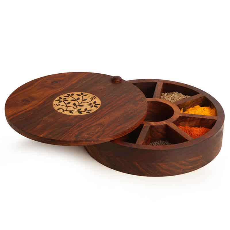 Moorni Sheesham Wood Spice Box with Floral Work