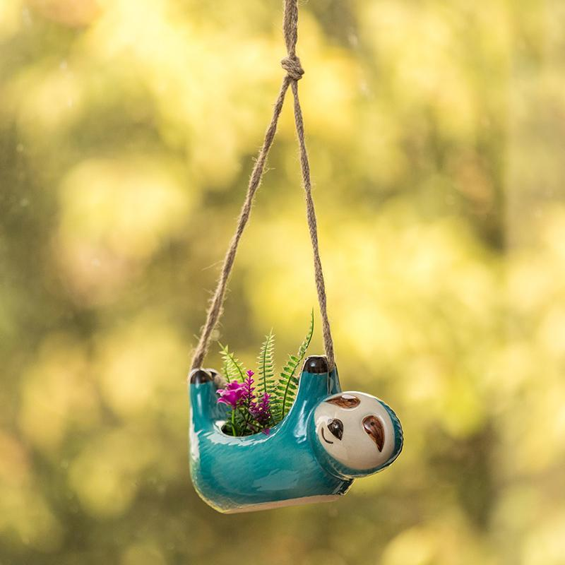 Moorni Green Sloth Hand-Painted Hanging Planter In Ceramic