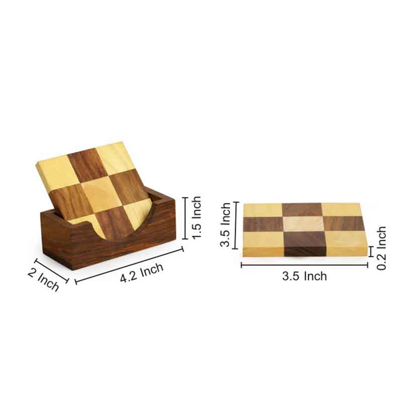 Moorni Chess Patterned Wooden Coasters Set Of 4 with Holder