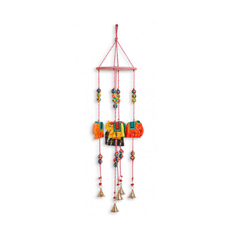Moorni Wooden Handmade & Hand-Painted Twirling Elephants Wind Chimes - EL-015-036