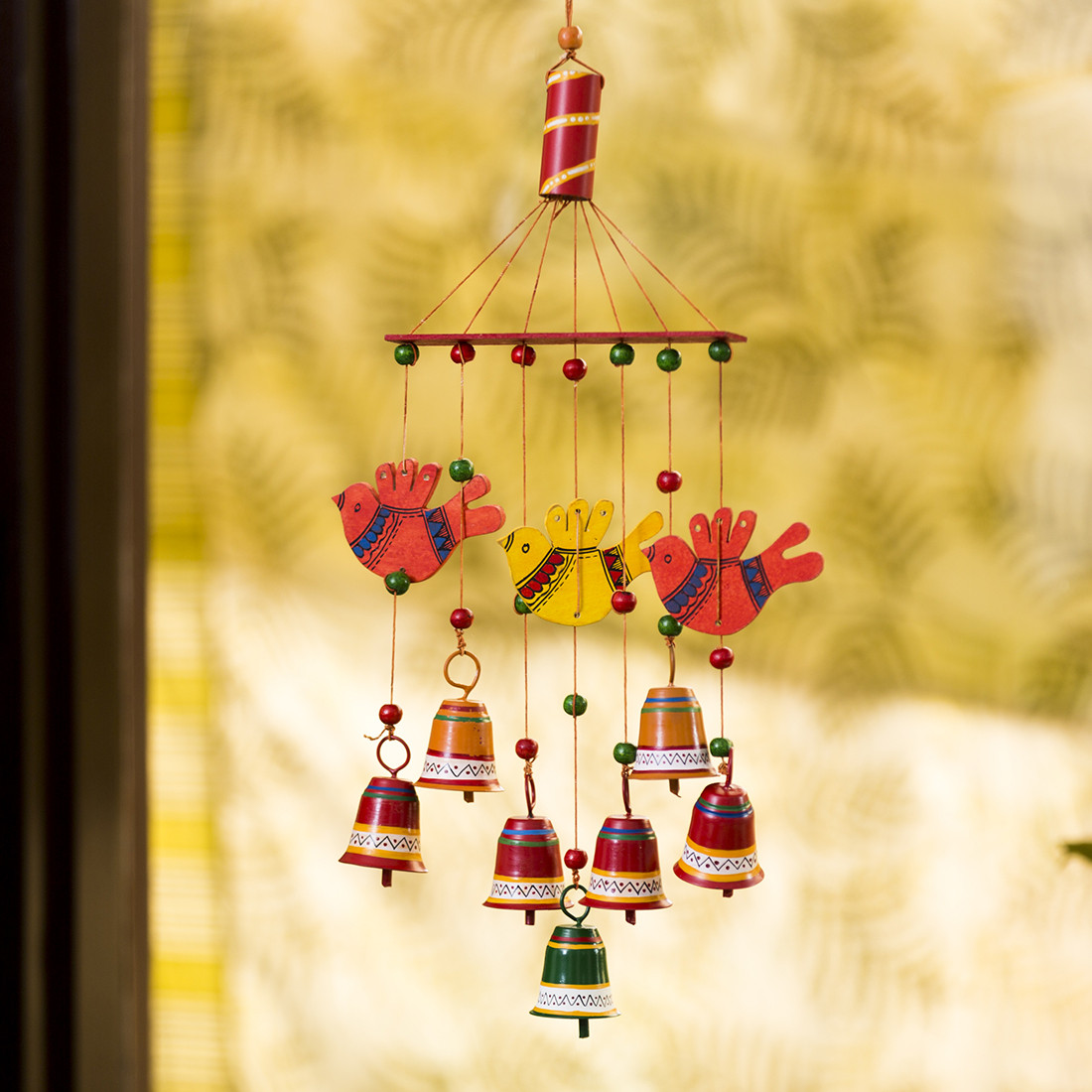 Moorni Clinkering Songbirds Hand-Painted Decorative Hanging Bells Wind Chime In Metal & Wood