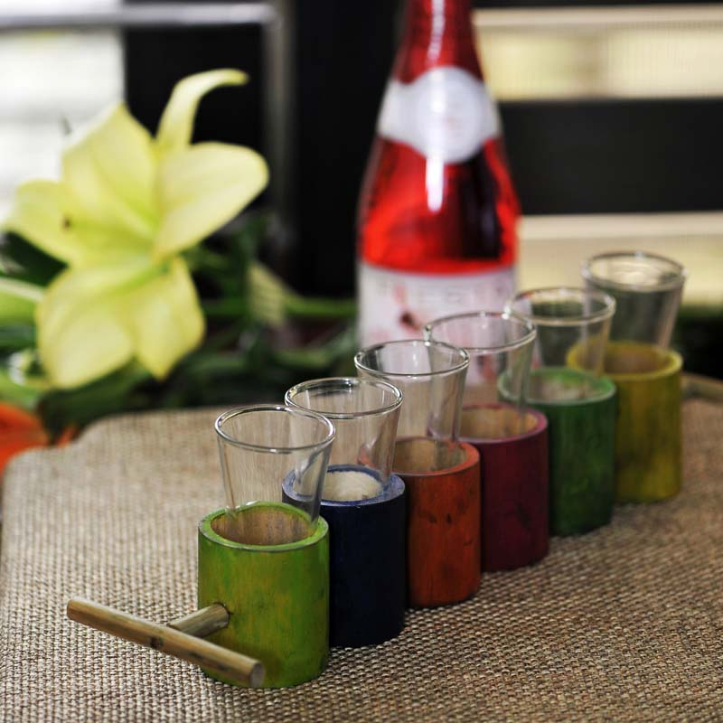 Moorni Vodka Shot Glasses with Multicoloured Antique Bamboo Holder Set Of 6