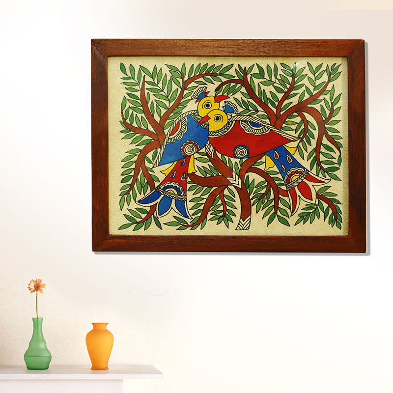 Moorni The Nesting Tree Mithila Hand-Painted Wall Painting in Teak Wood - EL-002-080