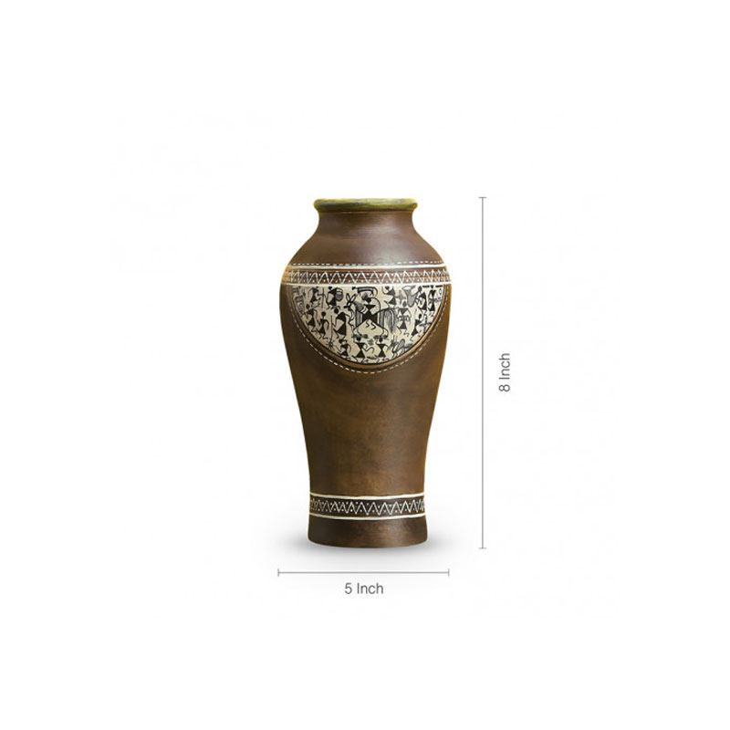 Moorni Terracotta Vase In Natural Mud Brown (8 Inch) - EL-006-070
