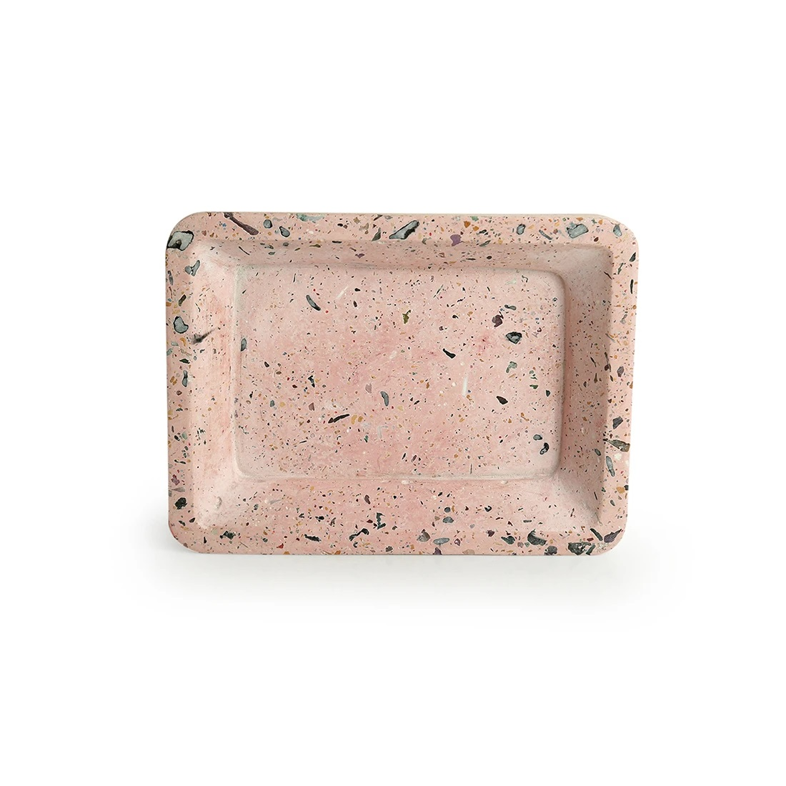 Moorni Four Ends of a Tray Handcrafted Terrazzo Multi-utility Knick Knack Organizer Tray In Concrete