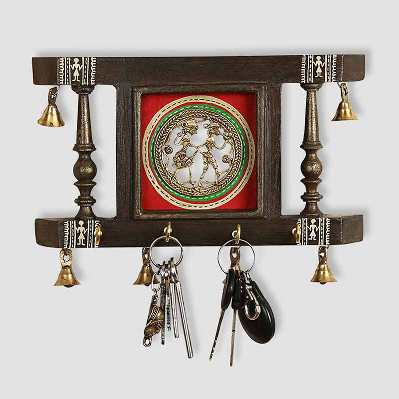 Moorni Brass People On Teak Wood Warli Hand-Painted Key Holder With Dhokra Art (4 Hooks)