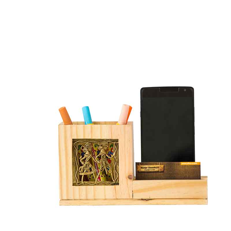 Olha-o Pine Wood Pen Stand with Card & Mobile Holder