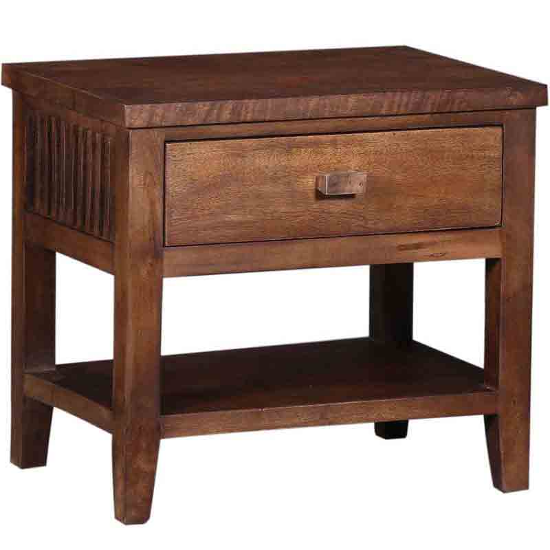 Moorni Solid Wood Bed Side Table In Teak Finsh