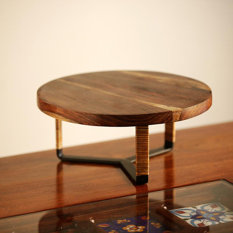 Moorni Cane Handwoven Cake Stand In Sheesham Wood & Iron