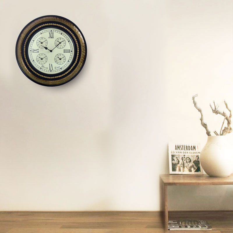 Traditional Rajasthani Brass and Wooden Design Wall Clock (46cm)