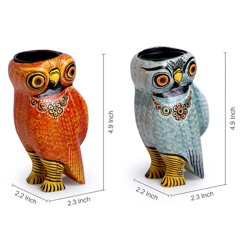 Moorni Handmade & Hand-Painted Owl Tea-Light Holder Set in Wood EL-008-102