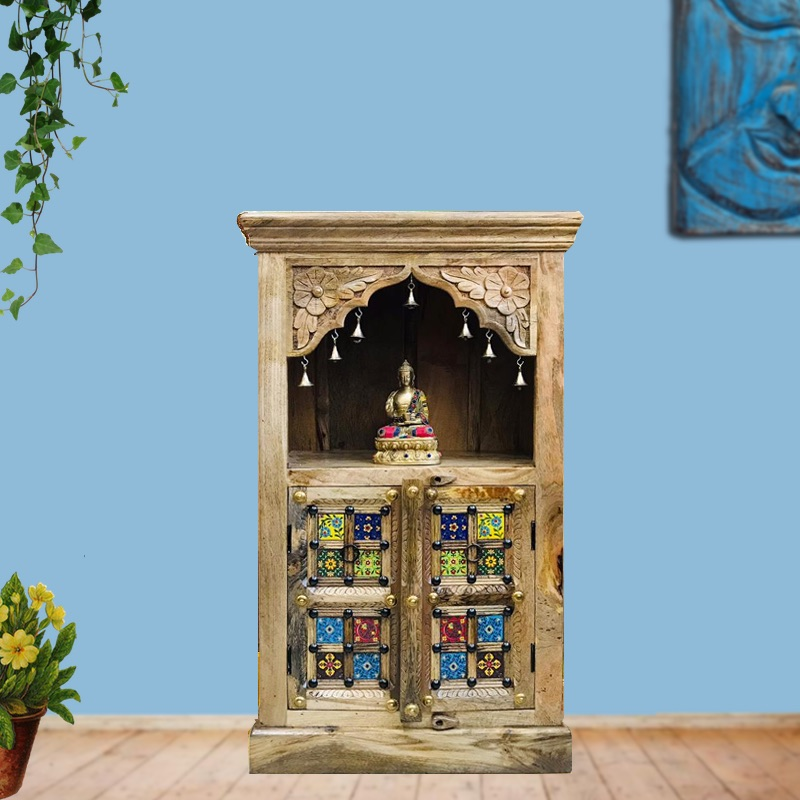 Moorni Medium Size Wooden Temple with Tiles MN-00T-010