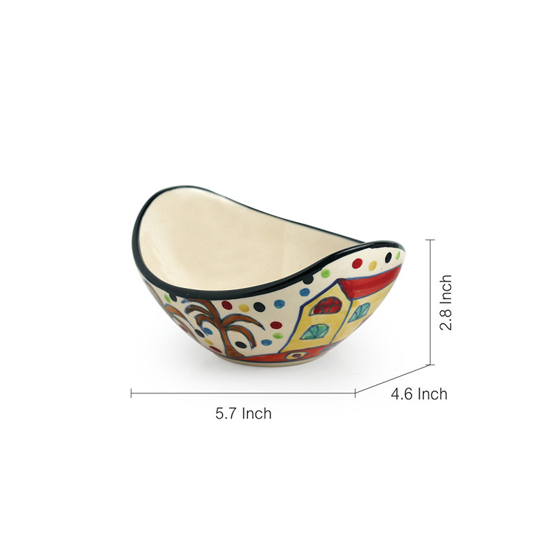 Moorni The Hut Curved Serving Hand-Painted Ceramic Bowls (Set Of 2)