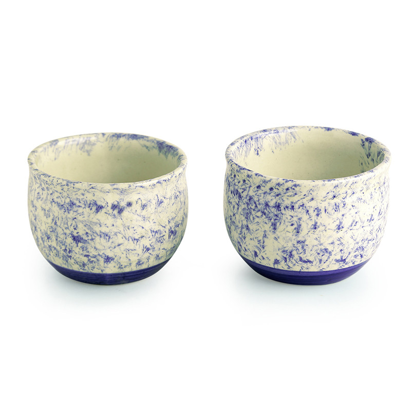 Moorni The Floral Shades Mughal Hand-Painted Ink Blue Ceramic Planters (Set Of 2)